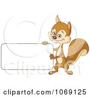 Clipart Happy Squirrel Holding A Sign Royalty Free Vector Illustration