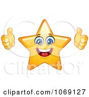 Clipart Happy Star Emoticon Holding Two Thumbs Up Royalty Free Vector Illustration