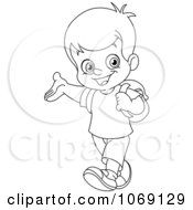 Clipart Outlined School Boy Presenting Royalty Free Vector Illustration by yayayoyo