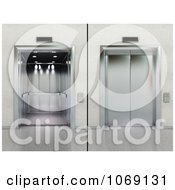 Clipart 3d Elevator Shown Open And Closed Royalty Free CGI Illustration