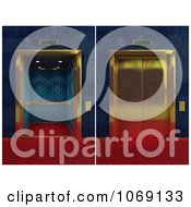 Clipart 3d Golden Elevators Shown Closed And Open Royalty Free CGI Illustration