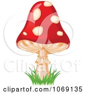 Clipart Fly Agaric Mushroom And Grass Royalty Free Vector Illustration by Pushkin