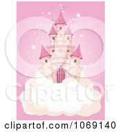 Clipart Fairy Tale Castle On A Cloud Over Pink Royalty Free Vector Illustration