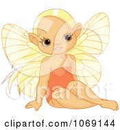 Clipart Sitting Fairy Elf Girl Royalty Free Vector Illustration