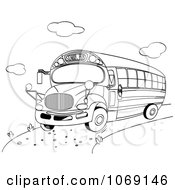 Clipart School Bus Outline Royalty Free Vector Illustration by Pushkin