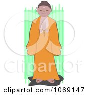 Clipart Praying Monk Over Green Royalty Free Vector Illustration