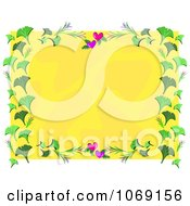 Clipart Heart And Ginkgo Frame Around Yellow Royalty Free Vector Illustration by bpearth