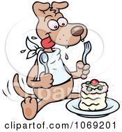 Clipart Dog Eating A Cake Royalty Free Vector Illustration