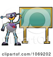 Robot Teacher Pointing To A Chalkboard