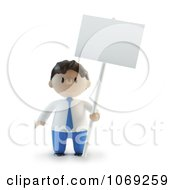 Clipart 3d Businessman Holding A Blank Sign Royalty Free CGI Illustration by Mopic