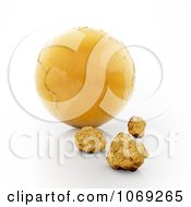 Clipart 3d Gold Earth And Nuggets Royalty Free CGI Illustration