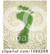 Clipart 3d Grassy Footprint On Cracked Earth Royalty Free CGI Illustration