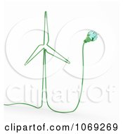 Clipart 3d Green Energy Windmill Cable Royalty Free CGI Illustration by Mopic