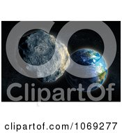 Clipart 3d Asteroid Approaching Planet Earth Royalty Free CGI Illustration by Mopic