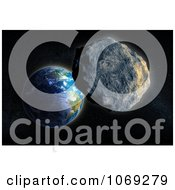 Clipart 3d Asteroid Approaching Earth Royalty Free CGI Illustration