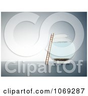 Clipart 3d Ladder Against An Empty Fish Bowl Royalty Free CGI Illustration