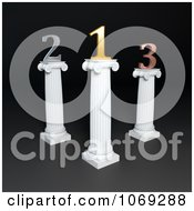 Clipart 3d Gold Silver And Bronze Numbers On Columns 1 Royalty Free CGI Illustration