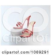 3d Red High Heels On A Platform
