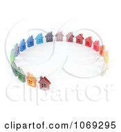 Clipart 3d Colorful Homes In A Circle Royalty Free CGI Illustration