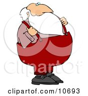 Santa With His Hands On His Suspenders Clipart Illustration
