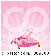 Clipart Glass Slipper On A Pillow Over Pink Royalty Free Vector Illustration by Pushkin