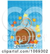 Clipart Beer Keg And Leaves Over An Oktoberfest Banner On Blue Royalty Free Vector Illustration