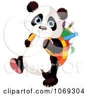 Clipart Panda Student Walking To School Royalty Free Vector Illustration by Pushkin