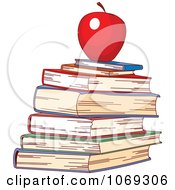 Stack Of School Books And Red Apple