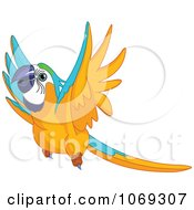 Clipart Flying Macaw Parrot Royalty Free Vector Illustration by Pushkin