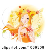 Clipart Red Haired Fairy With Autumn Leaves Royalty Free Vector Illustration