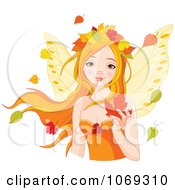 Clipart Fall Fairy With Autumn Leaves Royalty Free Vector Illustration