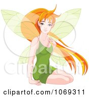 Clipart Fairy With Long Red Hair Royalty Free Vector Illustration