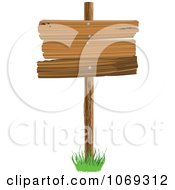Clipart Wooden Plank Sign Royalty Free Vector Illustration