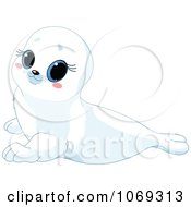 Clipart Cute White Baby Seal Royalty Free Vector Illustration by Pushkin
