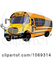 Clipart Yellow School Bus Royalty Free Vector Illustration by Pushkin