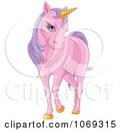 Pink Unicorn Wearing A Floral Necklace