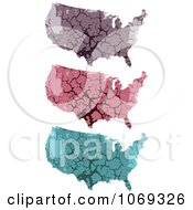 Clipart USA Stone Maps Royalty Free Vector Illustration by Andrei Marincas