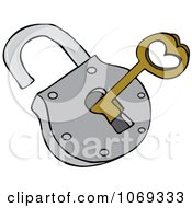 Clipart Skeleton Key And Padlock Royalty Free Vector Illustration by djart
