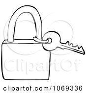 Clipart Outlined Key And Padlock Royalty Free Vector Illustration by Dennis Cox