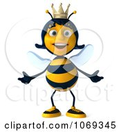 Clipart 3d Queen Bee Welcoming Royalty Free CGI Illustration