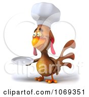 Clipart 3d Brown Chef Chicken Holding A Plate 3 Royalty Free CGI Illustration