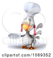 Clipart 3d White Chef Chicken Holding A Plate 1 Royalty Free CGI Illustration