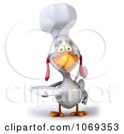 Clipart 3d White Chef Chicken Holding A Plate 2 Royalty Free CGI Illustration