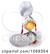 Clipart 3d White Chef Chicken Holding A Plate 3 Royalty Free CGI Illustration