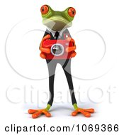 Clipart 3d Business Springer Frog Taking Pictures 1 Royalty Free CGI Illustration