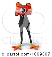 Clipart 3d Business Springer Frog Taking Pictures 2 Royalty Free CGI Illustration