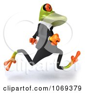 Clipart 3d Business Springer Frog Running 2 Royalty Free CGI Illustration
