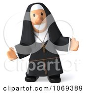 Clipart 3d Nun Welcoming Royalty Free CGI Illustration