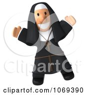 Clipart 3d Nun Jumping Royalty Free CGI Illustration by Julos