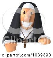 3d Nun Holding A Sign 2